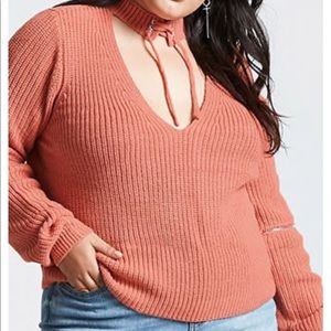 Forever 21 Plus size Orange / Coral V-neck Sweater